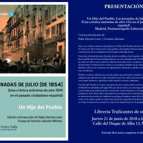 Presentación de Las jornadas de Julio [de 1854] en librería Traficantes de Sueños